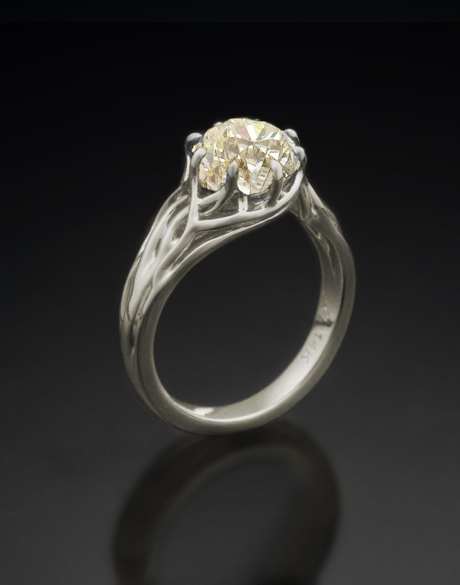 Tree of Life Engagement Ring Natural White Gold