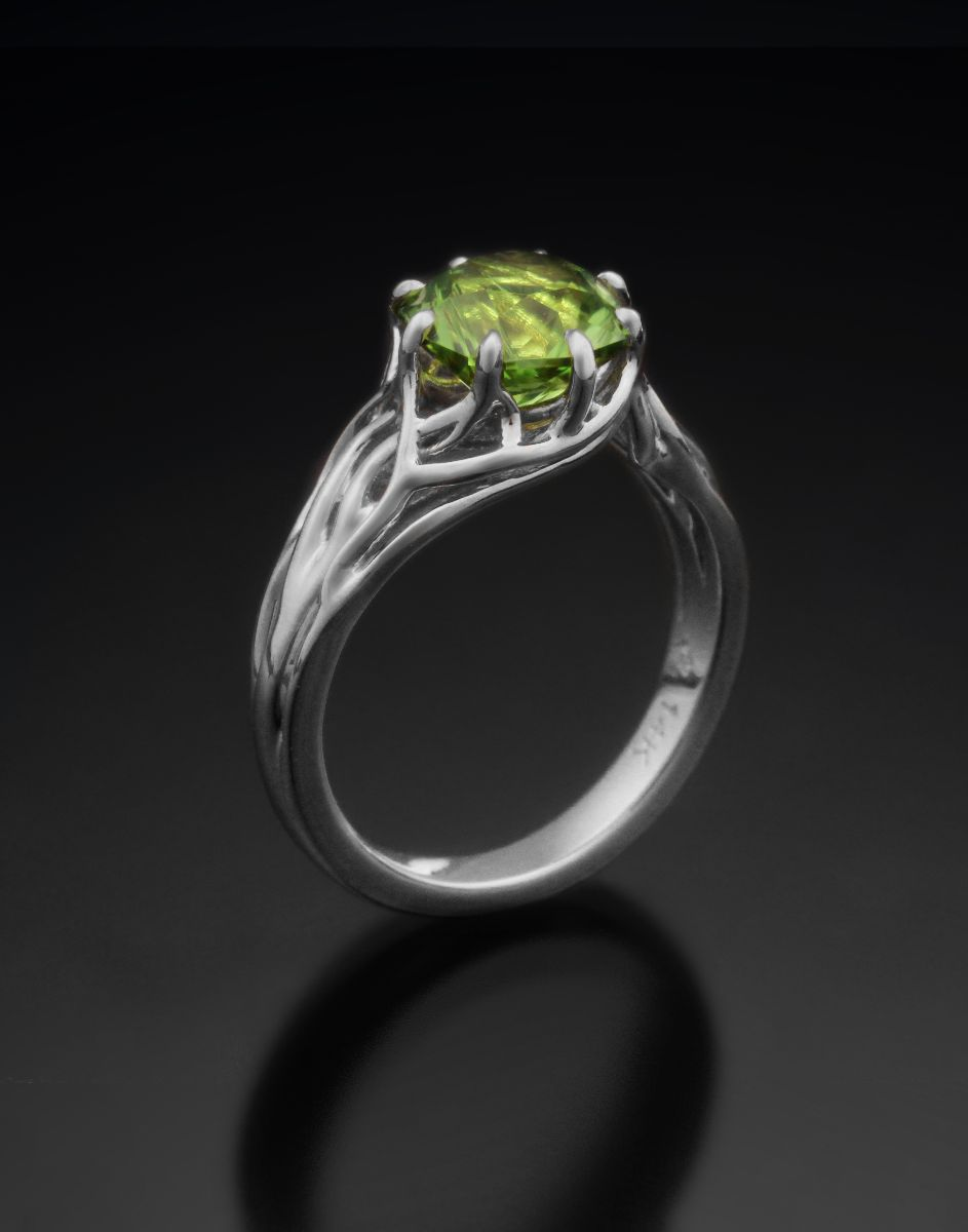 Tree of Life Engagement White and Peridot
