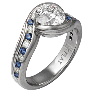 Carved Wave Engagement Ring with Alternating Diamonds and Sapphires