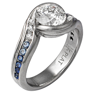 Carved Wave Engagement Ring with Graduating Blue Sapphires