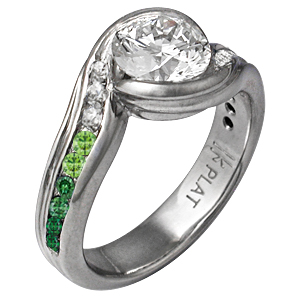 Carved Wave Engagement Ring with Graduating Green Diamonds