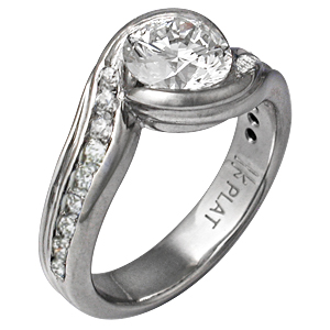 Carved Wave Engagement Ring with White Diamonds