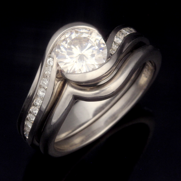 Carved Wave Engagement Ring with Narrow Plain Contoured Wedding Band