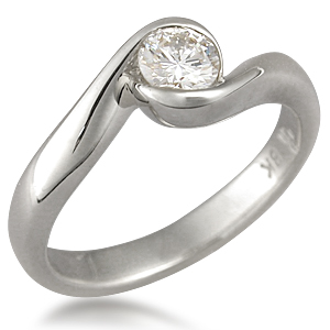 Carved Wave Light Engagement Ring in 14k White Gold