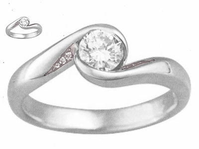 carved wave light engagement ring with accent stones