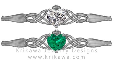 Custom Claddagh ring heart shaped diamond or emerald