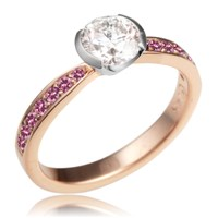 Elegant Tapered Sparkle Engagement Ring in 14k Rose Gold and Platinum with Pink Sapphire Accents