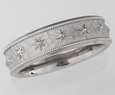 star and millegrain wedding band