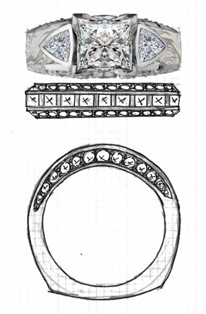Engagment Ring with custom wedding band sketch