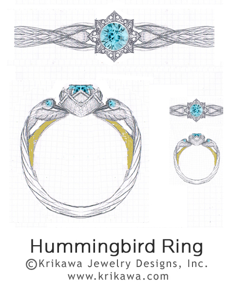 Hummingbird engagement ring