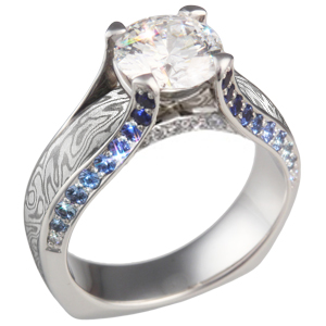 Juicy Light Mokume Engagement Ring with Diamond and Sapphire Accents