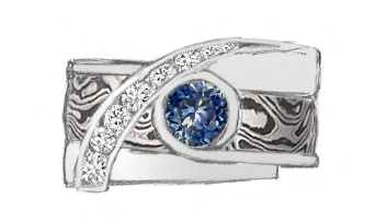 Custom mokume engagement ring from sketch with sapphire center