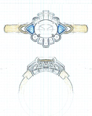 art deco engagement ring sketch
