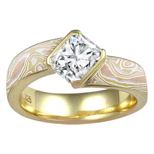 Autumn Mokume Angled Wave Engagement Ring
