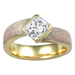 Trigold Mokume Angled Wave Engagement Ring