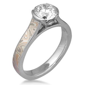 Champagne Mokume Cathedral Engagement Ring with Palladium Liner