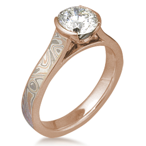 Champagne Mokume Cathedral Engagement Ring