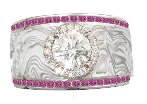 pink sapphire and diamond mokume ring