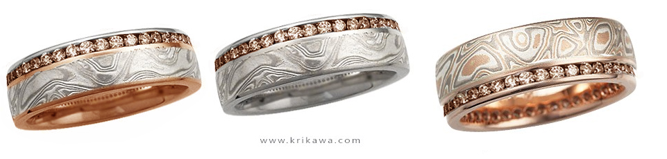 champagne diamonds and rose gold with mokume wedding bands