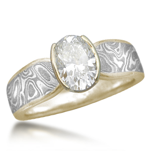 Mokume Triple Tapered Engagement Ring Yellow Gold