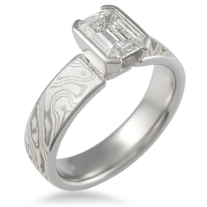 Emerald Cut Engagement Ring Mokume