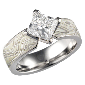 Mokume Engagement Ring with Princess Diamond