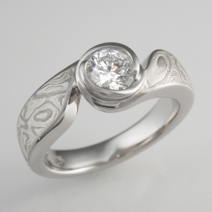 Mokume swirl engagement ring