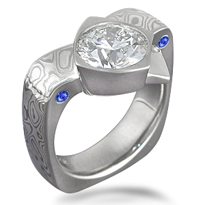 Mokume Crossover Ring with Side Sapphires