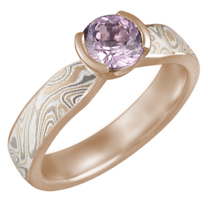 Mokume Solitaire Tapered Engagement Ring in 14k Rose Gold with Round Sapphire