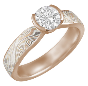 Mokume Solitaire Tapered Engagement Ring in 14k Rose Gold with Round White Diamond