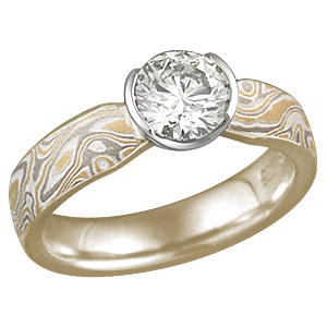 Summer Mokume Solitaire Tapered Engagement Ring with 14k yellow gold