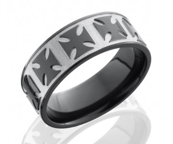 black mens wedding band with custom pattern etched