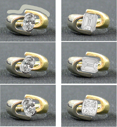 Engagement ring with oval, emerald cut and cushion variations