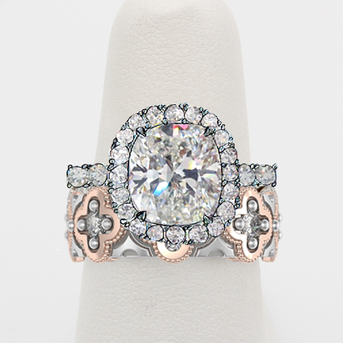 Custom Engagement Ring with Quatrefoil Wedding Band