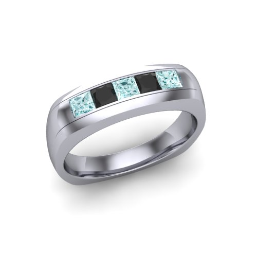 mens ring with black diamonds and aquamarines