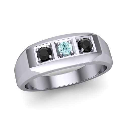 mens ring with black diamonds and aquamarines 4
