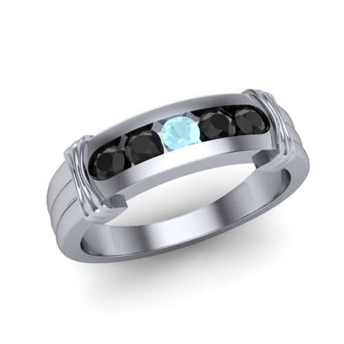 mens ring with black diamonds and aquamarines 5