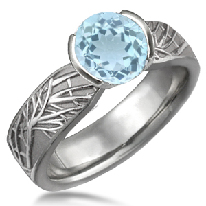 Modern Tree of Life Engagement Ring with Blue Topaz