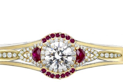 Yellow Gold Old World Engagement Ring and Enhancer with Diamonds and Rubies