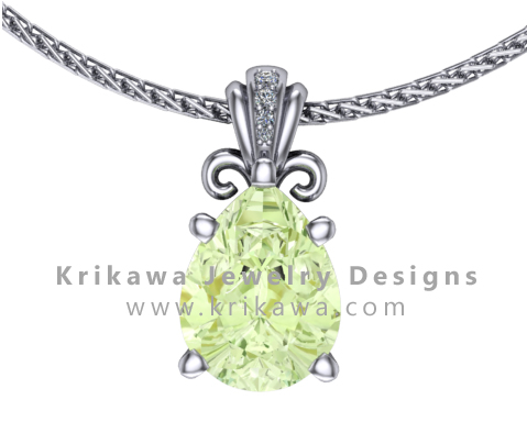 Unique pear shaped diamond pendant