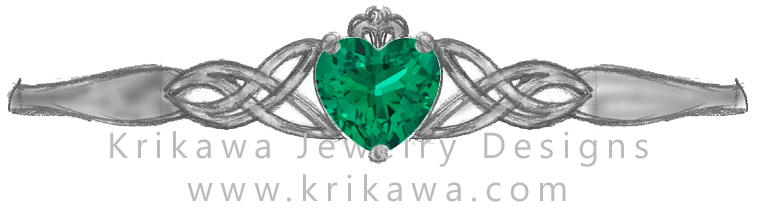 Claddagh ring emerald heart shaped center