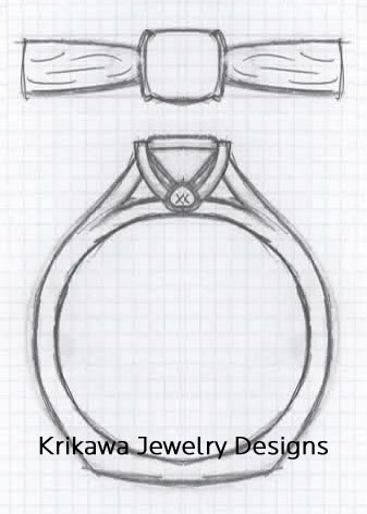 Cathedral Engagement Ring Design with Peekaboo Stone and Cushion Cut