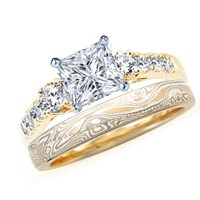 princess cut diamond engagement ring two tone with mokume wedding band