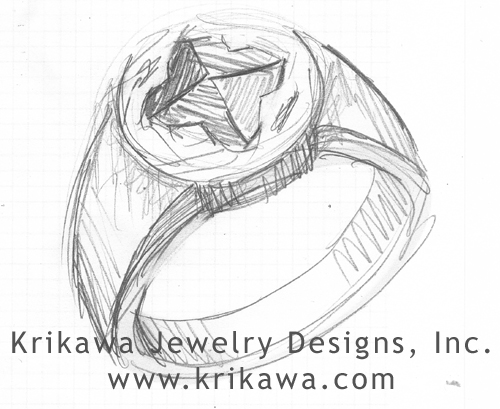 raw diamond signet ring design