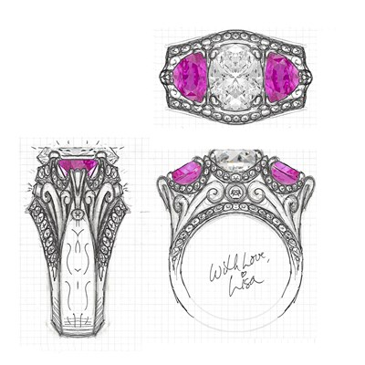 Custom Mokume Renaissance Spectacular Sketch with Pink Sapphire Side Stones