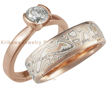 Rose Gold Solitaire and Mokume Band