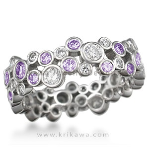 Scattered Diamond Wedding Band with Alternating Diamonds and Amethysts