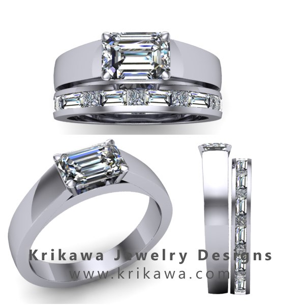 Modern emerald cut diamond bridal set