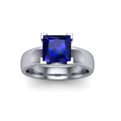 simple 4 prong solitaire with square sapphire