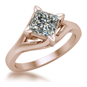 unique rose gold princess cut solitaire vine engagement ring